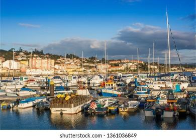 Moored fishing boats in Sanxenxo harbor