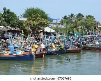Moored Thai Fishing boats