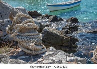 Mooring bid made of Wood with rope.