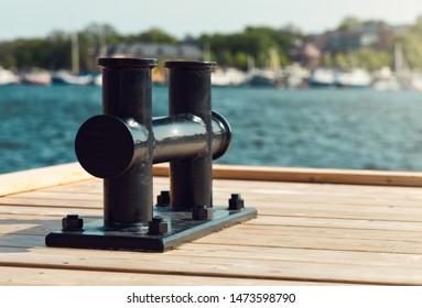 mooring bollard on dockin summer