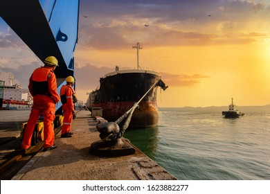 mooring man in charge of safety sailing of the ship leaving from the port