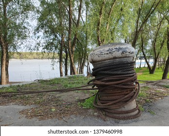 Mooring at the Port of Braila, Mooring at the Bank of the Danube River on a Sunny Day, Permanent Structure to Which a Vessel may be Secured, A Stone Mooring Bollard