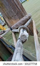 mooring rope at boat dock
