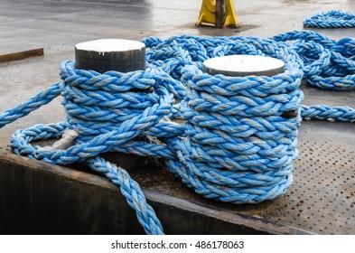 Mooring Rope Tied to a Bollard