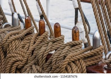 Mooring ropes mast on sailing ship