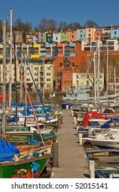 Moorings in winter sunshine at Bristol docks UK