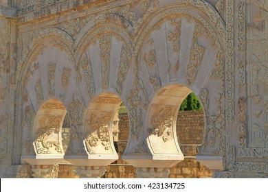 Moorish arches from the House of Jafar in Medina Azahara, Cordoba, Andalusia, Spain