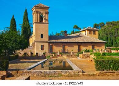Moorish architecture in Alhambra Generalife Gardens, Spain.