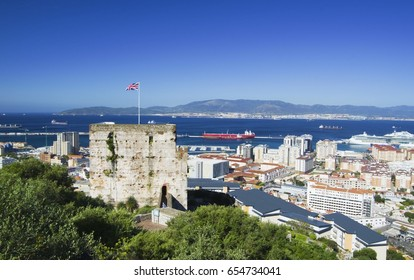 Moorish Castle and city of Gibraltar (Gibraltar, British Overseas Territories)
