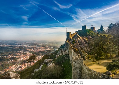 The Moorish castle in Sintra, Portugal. Castelo Dos Mouros, Sintra, Portugal. Architecture background,  historical place
