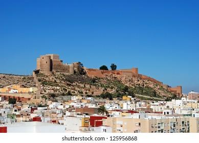 Moorish Castle and view over city buildings, Almeria, Costa Almeria, Almeria Province, Andalusia, Spain, Western Europe.