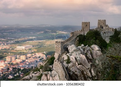 Moorish castle wall with overlook of the town below