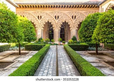 moorish garden of aljaferia alcazar of Zaragoza Spain