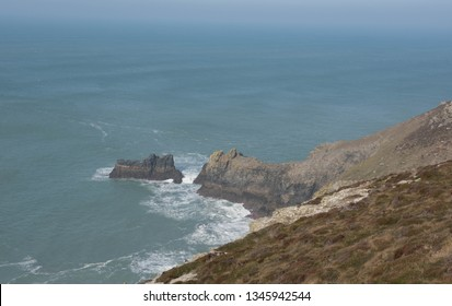 The Moorland and Craggy Rocks of St Agnes Head on the Atlantic Ocean Part of the South West Coast Path between Perranporth and Portreath in Rural Cornwall, England, UK
