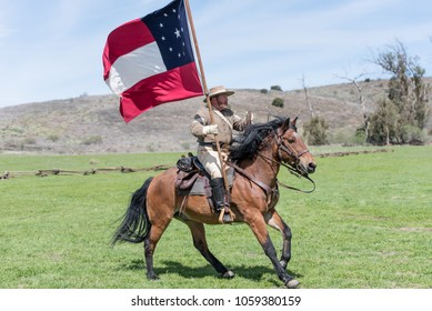 MOORPARK, CA - MARCH 18: The Blue and Gray Civil War Reenactment in Moorpark, CA is the largest battle reenactment west of the Mississippi. On March 18, 2018.