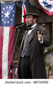"MOORPARK, CA - NOV 13: ""Abraham Lincoln"" at ""The Blue & The Gray"" event on Nov 13, 2011 in Moorpark, CA. Its the largest Civil War reenactment in the West."