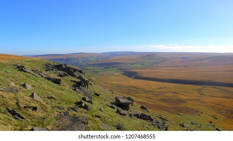 Moors in the Penines near Bradshaw, West Yorkshire, England. Autumn