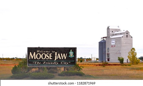Moose Jaw, Saskatchewan / Canada - September 12, 2018: Welcome to Moose Jaw, The Friendly City sign