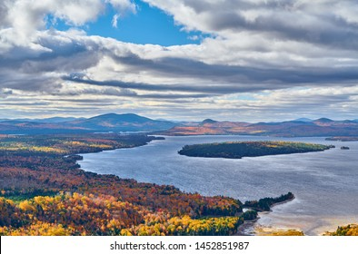 Mooselookmeguntic Lake at autumn view from Height of the Land viewpoint, Maine, USA.