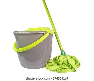 mop bucket green isolated