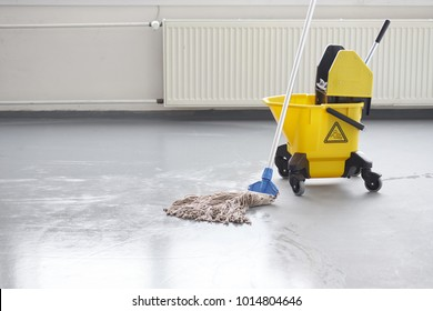 Mop bucket, janitorial service.