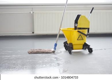 Mop bucket, janitorial service.