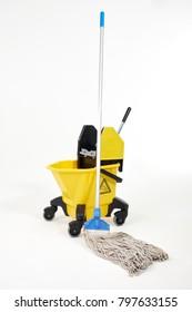 Mop bucket on white background