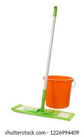 Mop with green microfiber rag, white plastic handle and orange bucket  isolated on a white background