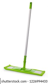 Mop with green microfiber rag and white plastic tubular handle isolated on a white background