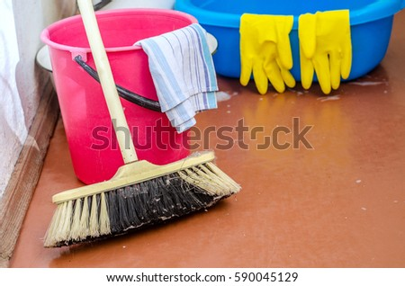 Mop Sweeping Dust Stock Photo (Edit Now) 590045129