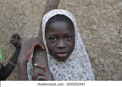 Mopti, Mali - December, 31, 2014: Potrait of African woman at market