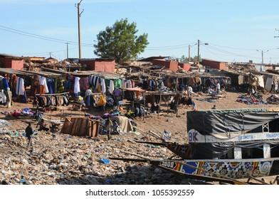 Mopti, Mali - December, 31, 2014: market along the Niger river