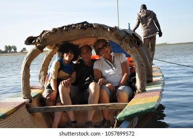 Mopti, Mali - December, 31, 2014: Tourist navigating on Niger river