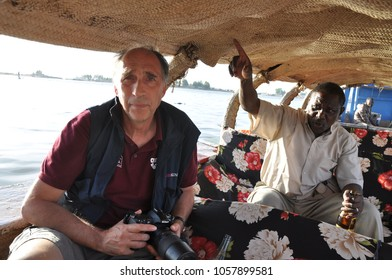 Mopti, Mali - December, 31, 2014: Tourist navigating on Niger river
