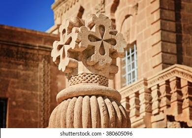 Mor Gabriel Monastery, Tur Abdin plateau, Near Midyat, Mardin Province, southeastern  Turkey. Dayro d-Mor Gabriel also known as Deyrulumur, the oldest surviving Syriac Orthodox monastery in the world