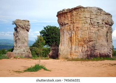 MOR HIN KHAOW is the Stonehenge of Thailand with blue sky background and unseen in Chaiyaphum