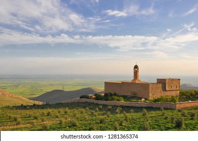 Mor Mihael Monastery with Mesopotamia plain, Mardin ancient city, assyrian monastery in the middle east