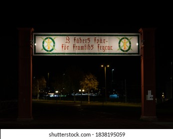 Mora, Sweden - 101220: Historical sign illuminated in the evening