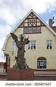 MORA. SWEDEN. 16 APRIL 2008 : Sculpture of Archangel Michael in Mora. Sweden