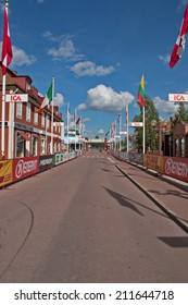 MORA, SWEDEN - AUGUST 14, 2014: Finish of the summer Version of the Vasaloppet