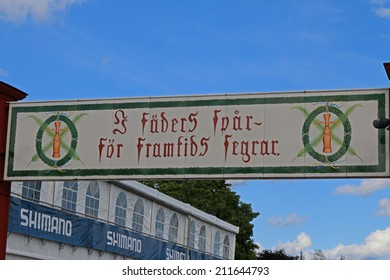 MORA, SWEDEN - AUGUST 14, 2014: Finish sign of the summer Version of the Vasaloppet