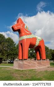 Mora, Sweden - July 2017: The worlds lagest wooden Dalecarlian horse built 2011.