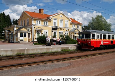 MORA, SWEDEN - JULY 8, 2011: Inlandsbanan train during stop at Mora railway station, Sweden