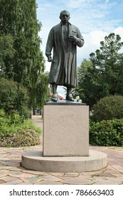 MORA, SWEDEN - JULY 8, 2011: Statue of the famous Swedish artist Anders Zorn in the city park of Mora, Sweden