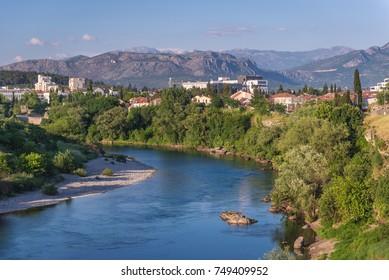 Moraca River in Podgorica city in Montenegro