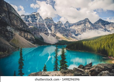 Moraine Lake, Banff National Park, Alberta, Canada in late summer early fall