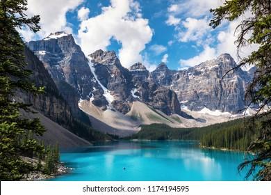 Moraine Lake during summer in Banff National Park, Canadian Rockies, Alberta, Canada.