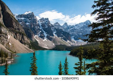 Moraine Lake is a glacially fed lake in Banff National Park, Canada