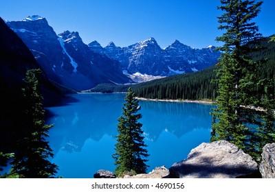 Moraine lake a glacier lake in Canadians Rockies