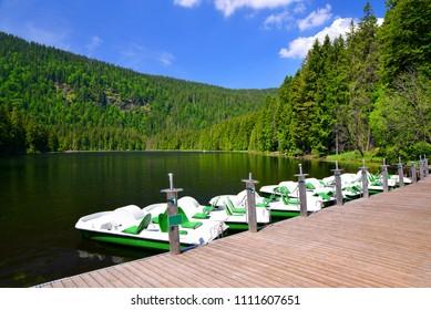 Moraine lake Grosser Arbersee in National park Bavarian forest. Germany.
